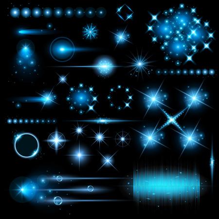 magie: Creative ensemble de �toiles effet de lumi�re luminescente concept de vecteur �clate avec des �tincelles isol� sur fond noir. Pour la conception de l'art illustration mod�le, banni�re pour f�ter No�l, la magie rayons d'�nergie flash.