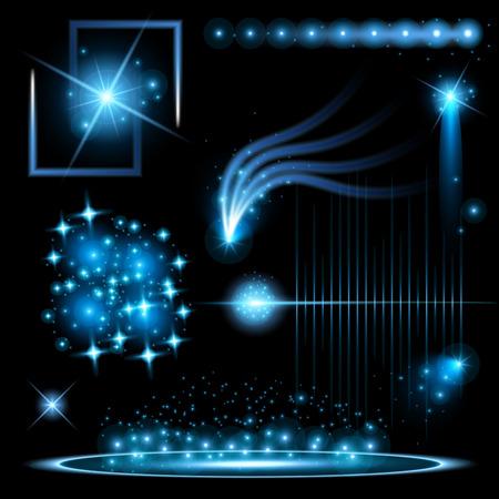 mágica: Conjunto de vectores concepto creativo de luz resplandor efecto estrellas estalla con destellos aislados sobre fondo negro. Para el diseño de arte abstracto plantilla, bandera para celebrar la Navidad, la magia rayos de energía flash.