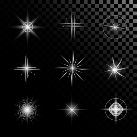 starlet: Creative concept Vector set of glow light effect stars bursts with sparkles isolated on black background. For illustration template art design, banner for Christmas celebrate, magic flash energy ray.