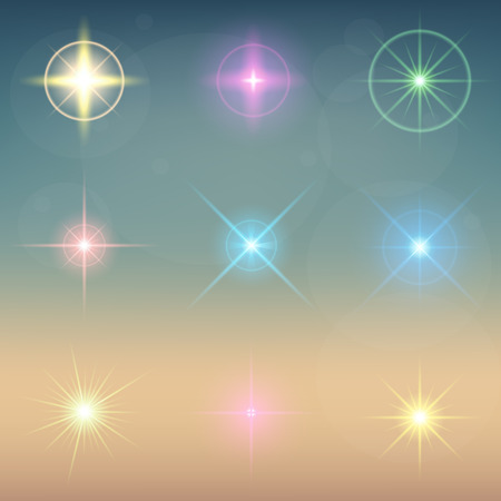 sunlight: Creative concept Vector set of glow light effect stars bursts with sparkles isolated on black background. For illustration template art design, banner for Christmas celebrate, magic flash energy ray.