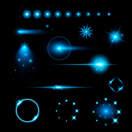 flash light: Creative concept Vector set of glow light effect stars bursts with sparkles isolated on black background. For illustration template art design, banner for Christmas celebrate, magic flash energy ray.
