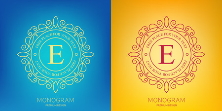 Abstract creative concept vector logo of retro monogram isolated on background. Art illustration template design for restaurnat, cafe, hotel, real estate, wedding and spa elegant cute fine emblem.