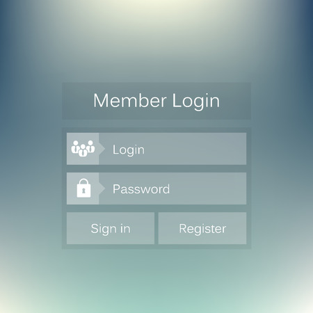profil: Abstract creative concept vector member login form interface. For web page, site, mobile applications, art illustration, design theme, modern menu, ui, app, contact empty box, banner, profil log in Illustration