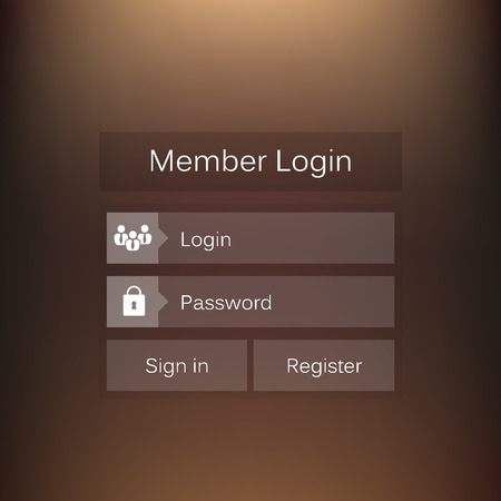 Abstract creative concept vector member login form interface. For web page, site, mobile applications, art illustration, design theme, modern menu, ui, app, contact empty box, banner, profil log in Illustration