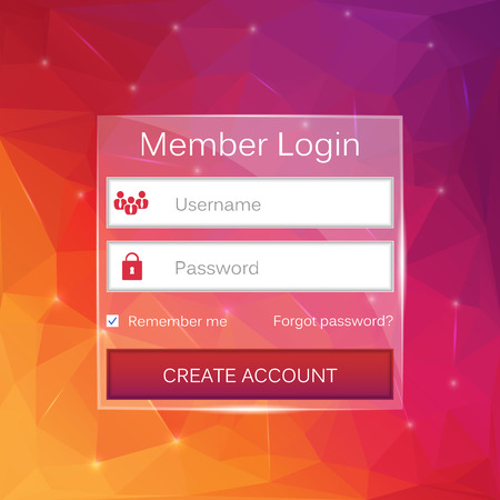 symbol: Abstract creative concept vector member login form interface. For web page, site, mobile applications, art illustration, design theme, modern menu, ui, app, contact empty box, banner, profil log in Illustration