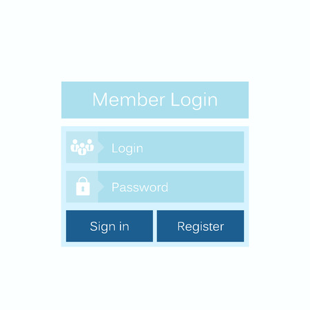 signup: Abstract creative concept vector member login form interface. For web page, site, mobile applications, art illustration, design theme, modern menu, ui, app, contact empty box, banner, profil log in Illustration