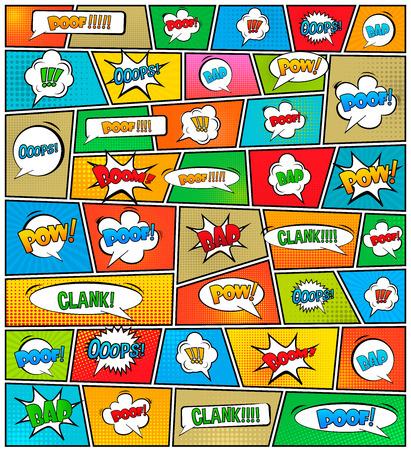 Abstrakt Kreatives Konzept Vektor Comics Pop-Art-Stil leere Layout-Vorlage mit Wolken Balken und isolierte Punkte Muster auf Hintergrund. Standard-Bild - 42310866