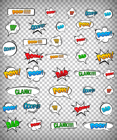 Abstract Creative concept vector pop art style set of comic text template with clouds beams and isolated dots pattern on background.   Illustration
