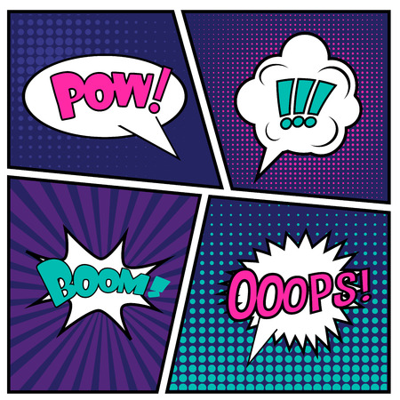 Abstract Creative concept vector comics pop art style blank layout template with clouds beams and isolated dots pattern on background.  일러스트