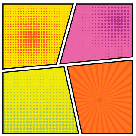 libro caricatura: Tebeos vector de concepto creativo abstracto estilo del arte pop plantilla de diseño en blanco con las nubes vigas y el modelo de puntos aislados en el fondo.
