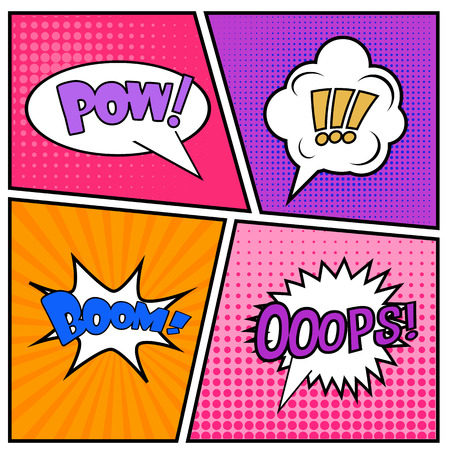 speech cloud: Abstract Creative concept vector comics pop art style blank layout template with clouds beams and isolated dots pattern on background.