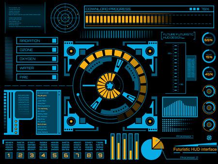 tablero de control: Futuro abstracto, interfaz de usuario táctil vector de concepto futurista azul virtuales gráfico HUD. Para la web, web, aplicaciones móviles aislados sobre fondo negro, techno, diseño en línea, negocio, gui, ui.