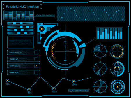 dash: Abstract future, concept vector futuristic blue virtual graphic touch user interface HUD. For web, site, mobile applications isolated on black background, techno, online design, business, gui, ui.