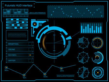 grafiken: Abstrakt Zukunft Konzept Vektor futuristischen blauen virtuellen grafischen Touch Benutzeroberfläche HUD. Für das Web, Website, mobile Anwendungen auf schwarzem Hintergrund isoliert, techno, Online-Design, Business, gui, ui.