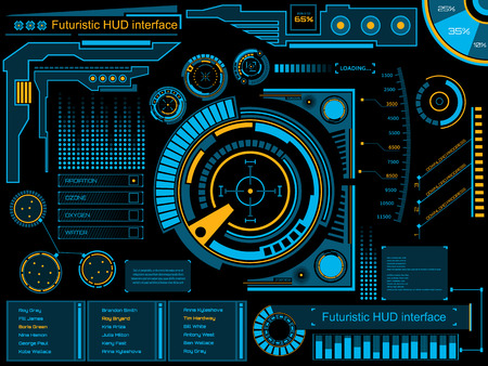 Abstrakt Zukunft Konzept Vektor futuristischen blauen virtuellen grafischen Touch Benutzeroberfläche HUD. Für das Web, Website, mobile Anwendungen auf schwarzem Hintergrund isoliert, techno, Online-Design, Business, gui, ui. Standard-Bild - 43840363