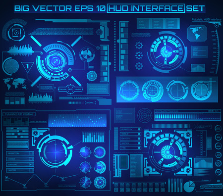 digital illustration: Abstract future, concept vector futuristic blue virtual graphic touch user interface HUD. For web, site, mobile applications isolated on black background, techno, online design, business, gui, ui.