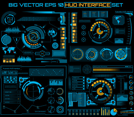progress: Abstract future, concept vector futuristic blue virtual graphic touch user interface HUD. For web, site, mobile applications isolated on black background, techno, online design, business, gui, ui.