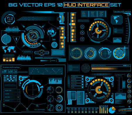 panel de control: Futuro abstracto, interfaz de usuario t�ctil vector de concepto futurista azul virtuales gr�fico HUD. Para la web, web, aplicaciones m�viles aislados sobre fondo negro, techno, dise�o en l�nea, negocio, gui, ui.