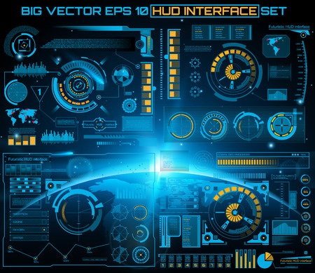 Abstract future, concept vector futuristic blue virtual graphic touch user interface HUD. For web, site, mobile applications isolated on black background, techno, online design, business, gui, ui. Reklamní fotografie - 43840365