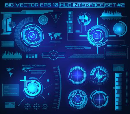 Abstrakt Zukunft Konzept Vektor futuristischen blauen virtuellen grafischen Touch Benutzeroberfläche HUD. Für das Web, Website, mobile Anwendungen auf schwarzem Hintergrund isoliert, techno, Online-Design, Business, gui, ui. Standard-Bild - 43840368