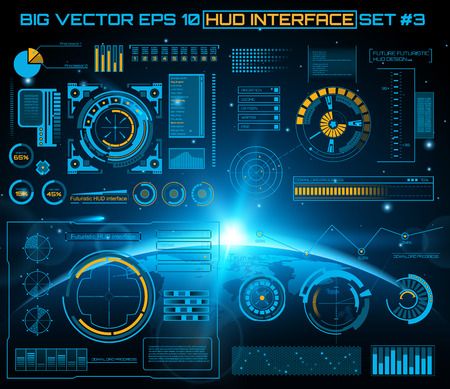 earth space: Abstract future, concept vector futuristic blue virtual graphic touch user interface HUD. For web, site, mobile applications isolated on black background, techno, online design, business, gui, ui.