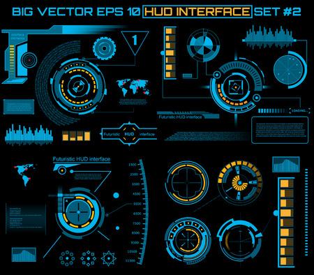 Abstracte toekomst, concept vector futuristische blauwe virtuele grafische gebruikersinterface via aanraken HUD. Voor web, website, mobiele toepassingen die op zwarte achtergrond, techno, online ontwerp, zaken, gui, ui.