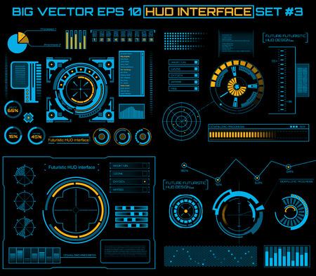 Abstrakt Zukunft Konzept Vektor futuristischen blauen virtuellen grafischen Touch Benutzeroberfläche HUD. Für das Web, Website, mobile Anwendungen auf schwarzem Hintergrund isoliert, techno, Online-Design, Business, gui, ui. Standard-Bild - 43844997