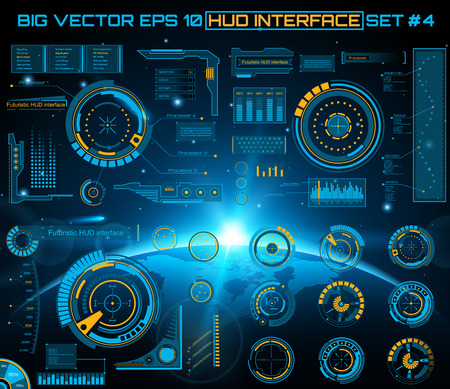 interface design: Abstract future, concept vector futuristic blue virtual graphic touch user interface HUD. For web, site, mobile applications isolated on black background, techno, online design, business, gui, ui.
