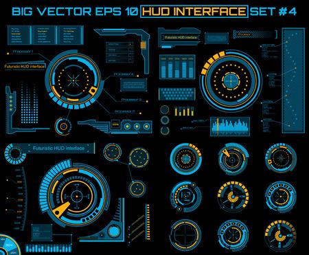 추상 미래, 개념 벡터 미래의 블루 가상 그래픽 터치 사용자 인터페이스 HUD. 웹 사이트의 경우, 모바일 애플리케이션 검은 색, 테크노, 온라인 디자인,  일러스트