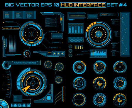 Abstract future, concept vector futuristic blue virtual graphic touch user interface HUD. For web, site, mobile applications isolated on black background, techno, online design, business, gui, ui. Banco de Imagens - 43845003