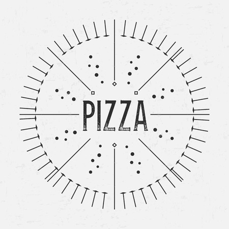 deliciously: Abstract Creative concept vector design layout with text - pizza. For web and mobile icon isolated on background, art template, retro elements, logos, identity, labels, badge, ink, tag, old card.