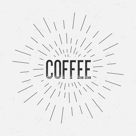 rubberstamp: Abstract Creative concept vector design layout with text - Coffee. For web and mobile icon isolated on background, art template, retro elements, logos, identity, labels, badge, ink, tag, old card. Illustration