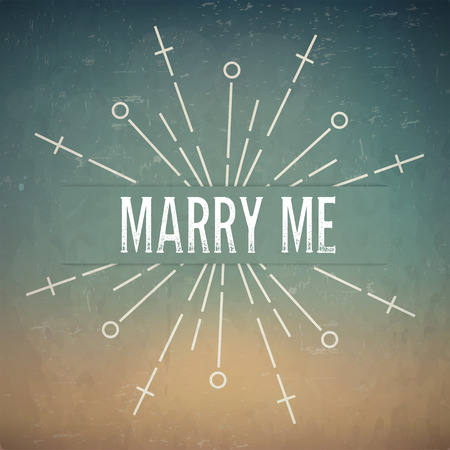 rubberstamp: Abstract Creative concept vector design layout with text - marry me. For web and mobile icon isolated on background, art template, retro elements, logo, identity, labels, badge, ink, tag, card.