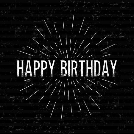rubberstamp: Abstract Creative concept vector design layout with text - happy birthday. For web and mobile icon isolated on background, art template, retro elements, logo, identity, labels, badge, ink, tag, card. Illustration