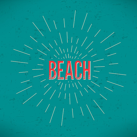 rubberstamp: Abstract Creative concept vector design layout with text - beach. For web and mobile icon isolated on background, art template, retro elements, logo, identity, labels, badge, ink, tag, card.