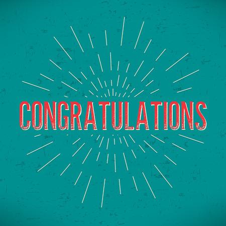 felicitaciones: Diseño abstracto creativo concepto de diseño con el texto - felicitaciones. Para web y el icono móvil aislado, plantilla arte, elementos retro, identidad, etiquetas, insignia, tinta, etiqueta, tarjeta