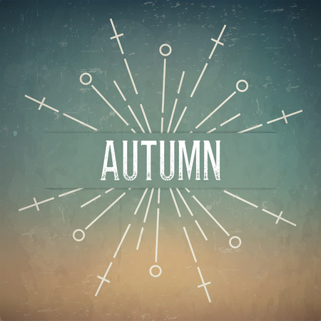 rubberstamp: Abstract Creative concept design layout with text - autumn. For web and mobile icon isolated , art template, retro elements, identity, labels, badge, ink, tag, card.