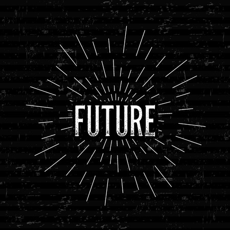retro future: Abstract Creative concept vector design layout with text - future. For web and mobile icon isolated on background, art template, retro elements, logo, identity, labels, badge, ink, tag, card.