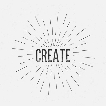 rubberstamp: Abstract Creative concept vector design layout with text - create. For web and mobile icon isolated on background, art template, retro elements, logo, identity, labels, badge, ink, tag, card.