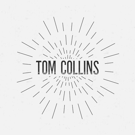 collins: Abstract Creative concept vector design layout with text - tom collins. For web and mobile icon isolated on background, art template, retro elements, logos, identity, label, badge, ink, tag, old card.