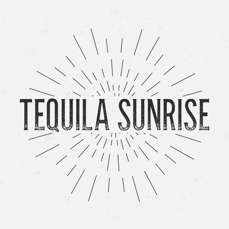 retro sunrise: Abstract Creative concept vector design layout with text - tequila sunrise. For web and mobile icon isolated on background, art template, retro elements, logos, identity, badge, ink, tag, old card.