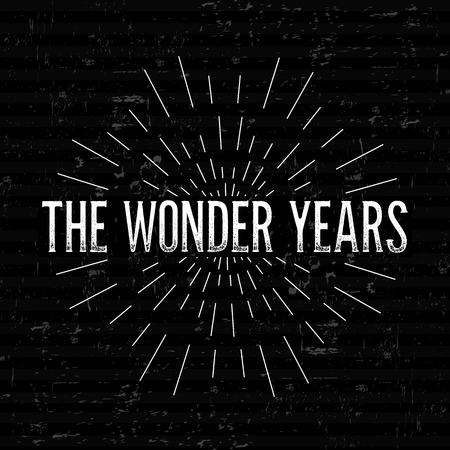 Abstract Creative concept vector design layout with text - the wonder years. For web and mobile icon isolated on background, art template, retro elements, logos, identity, labels, tag, old card.