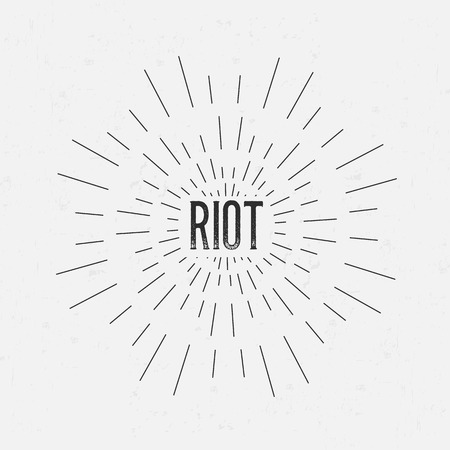 riot: Abstract Creative concept vector design layout with text - riot. For web and mobile icon isolated on background, art template, retro elements, logos, identity, labels, badge, ink, tag, old card. Illustration