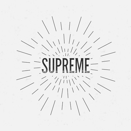 supreme: Abstract Creative concept vector design layout with text - supreme. For web and mobile icon isolated on background, art template, retro elements, logos, identity, labels, badge, ink, tag, old card. Illustration