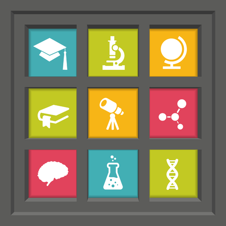 dna sequencing: Abstract creative concept vector set of science and education icons for web and mobile app isolated on background, art illustration template design, business infographic and social media, symbol. Illustration