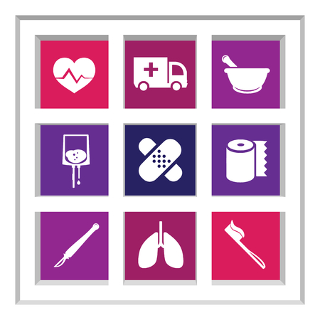 responders: Abstract creative concept vector set of healthcare and medical icons for web and mobile app isolated on background, art illustration template design, business infographic and social media, symbol. Illustration