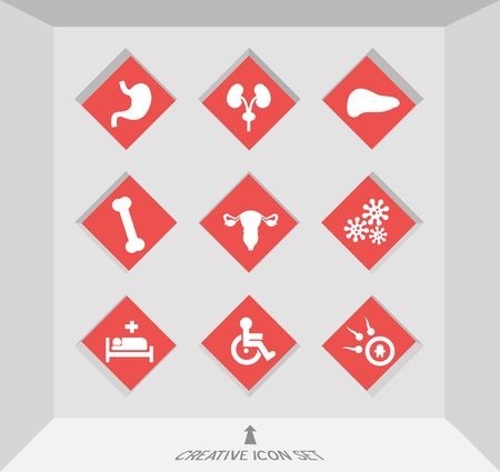Abstract creative concept vector set of healthcare and medical icons for web and mobile app isolated on background, art illustration template design, business infographic and social media, symbol. Illustration