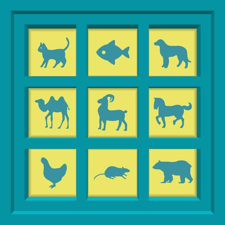 silueta gato: Creativo conjunto concepto vectorial de iconos de animales para la web y aplicaci�n m�vil aislado en el fondo, ilustraci�n de arte de dise�o de plantilla, infograf�a negocios y medios de comunicaci�n social, s�mbolo.