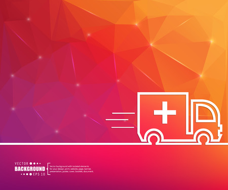 ambulance car: Abstract vector background. For web and mobile app, illustration template design, creative business info graphic, brochure, banner, presentation, concept poster, cover, booklet, document, line logo.