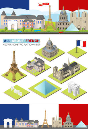 notre dame de paris: Vector France travel famous landmarks. Paris skyline set for web and mobile app. Flat, isometric building template design of Louvre palace, Eiffel Tower, Pyramid, Notre Dame de Paris, Arc de Triomphe.